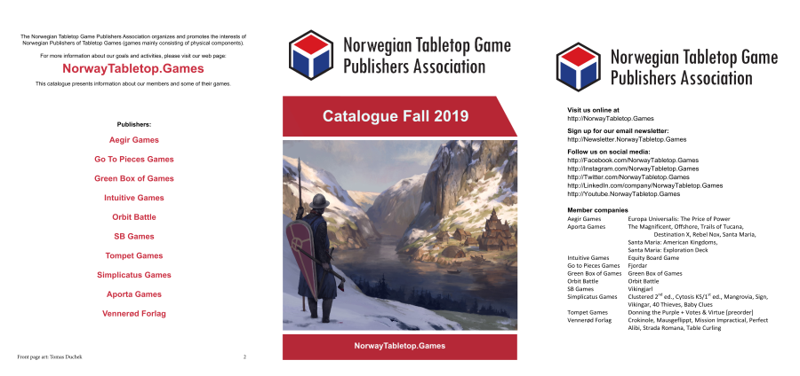 Find our games in the 2019-2020 catalogue for the ​Norwegian Tabletop Game Publishers Association